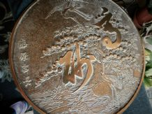 OLD CHINESE BRONZE HAND MIRROR TREE OF LIFE & CRANES DESIGN GOOD DETAIL